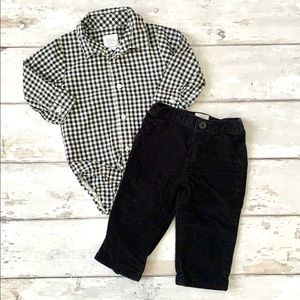 Boys 9m Carters Plaid Black White Checker & Pants